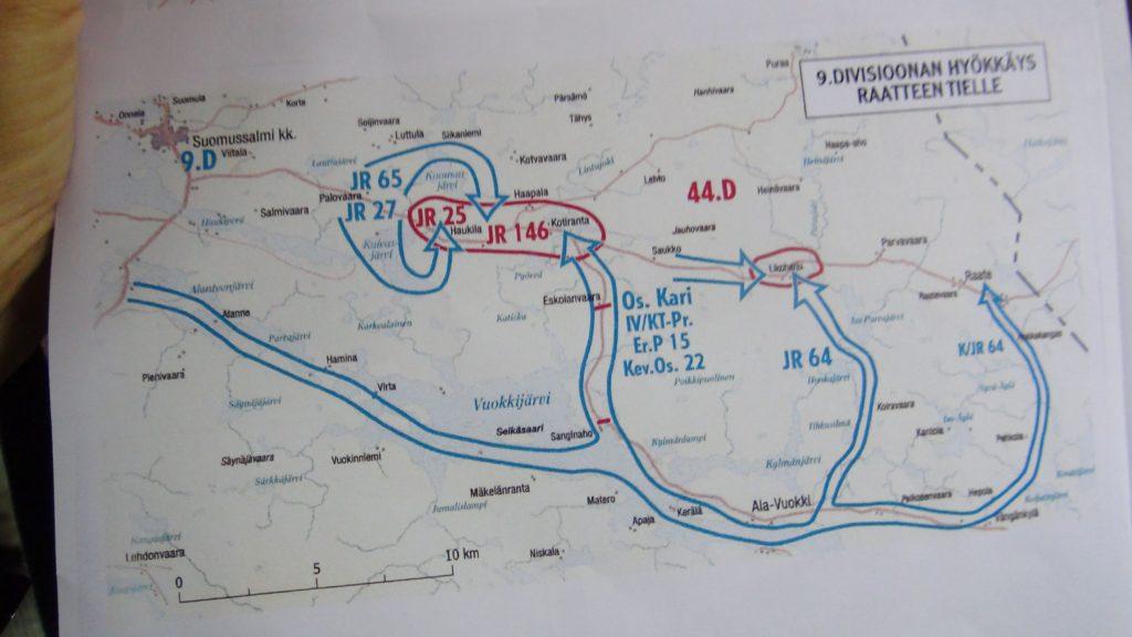 Raatteentien mottitaisteluiden kartta
